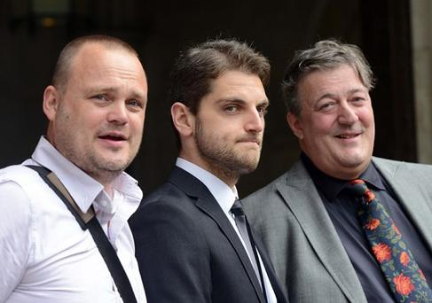 Paul Chambers (center) was flanked by Stephen Fry (right) and comedian Al Murray