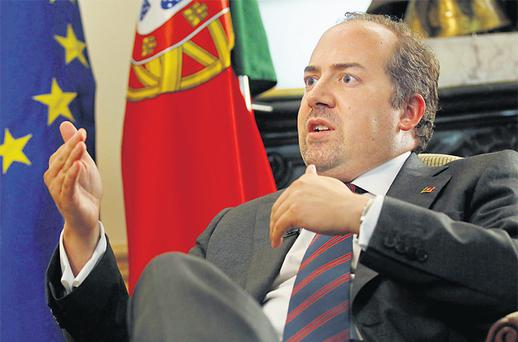 Portugal's Economy Minister Alvaro Santos Pereira said in an interview with Reuters in Lisbon yesterday that the country had no intention of requesting changes to the terms of its €78bn bailout, arguing that sticking to the plan was the only way to way to win credibility. Photo: Reuters
