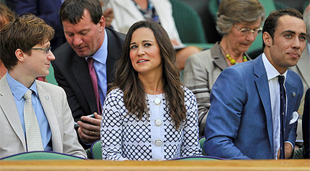 Pippa Middleton with her brother James during day four of the 2012 Wimbledon Championships