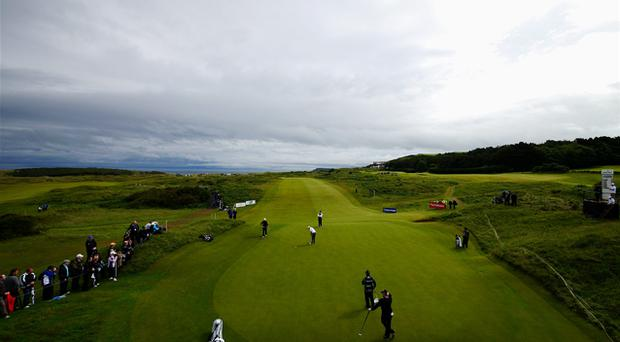 A general view as Mark Murphy of Ireland putts on the 9th green during Day One of the 2012 Irish Open