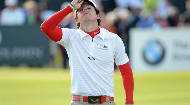Rory McILroy after his bogey putt on the 18th green. Photo: Sportsfile