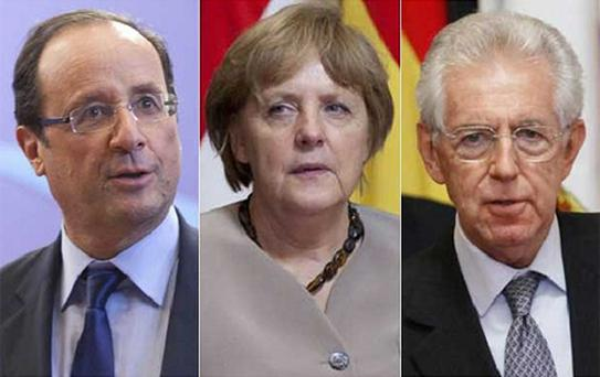 German Chancellor Angela Merkel was outflanked by French President Francois Hollande and Italian Prime Minister Mario Monti