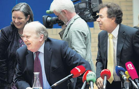 Finance Minister Michael Noonan with Justice Minister Alan Shatter at the publication of the Personal Insolvency Bill in Dublin yesterday