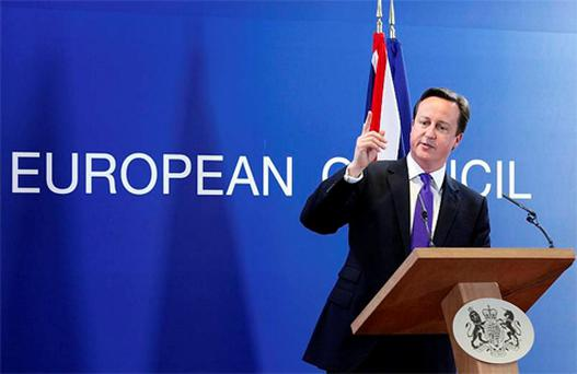Britain's Prime Minister David Cameron addresses a news conference after an European Union leaders summit in Brussels. Photo: Reuters