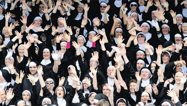 The crowd dressed up for Nunday, the Guinness World Record attempt of the most 'nuns' gathered in one place.