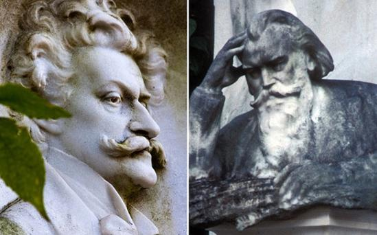 The headstones of Johann Strauss (left) and Johannes Brahms in the Zentralfriedhof (Central Cemetery) in Vienna