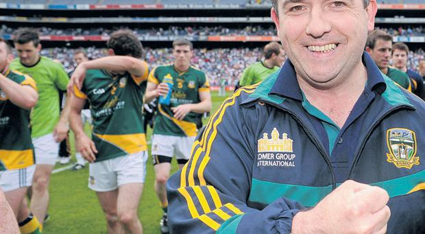 Seamus McEnaney leaves the Croke Park pitch after his Meath team beat Kildare on Sunday DAVID MAHER/SPORTSFILE