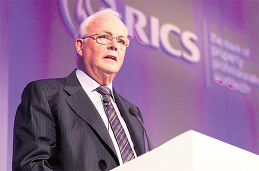 Frank Daly, chairman of NAMA, speaking at the launch of the RICS Valuer Registration scheme in Dublin yesterday