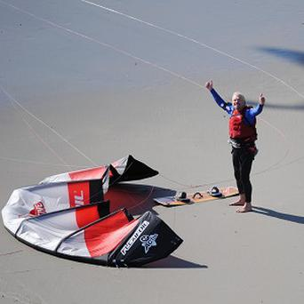 Sir Richard Branson 61, arrives at Wimereaux in northern France after kite surfing from Dymchurch in Kent