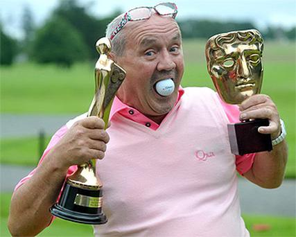 Comedian Brendan O'Carroll, with his awards for 'Mrs Brown's Boys', at the Charity 25 golf fundraiser on the Montgomerie course at Carton House, Co Kildare