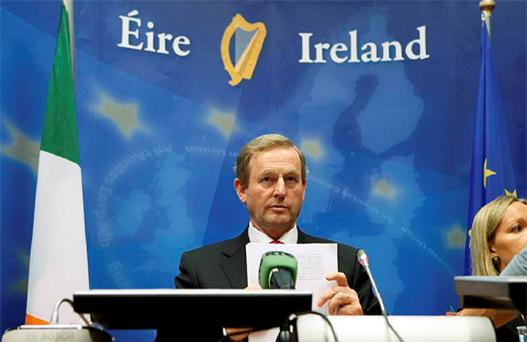 Taoiseach Enda Kenny addresses a news conference after an European Union leaders summit in Brussels June 29, 2012. Photo: Reuters