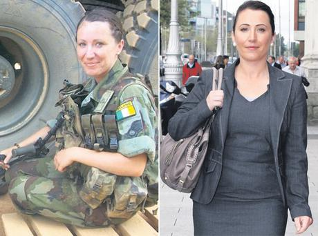 Left: Pte Kells pictured on duty in Chad. Right: Private Emma Kells at the High Court yesterday where her case was settled