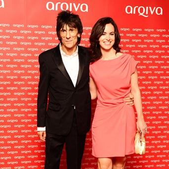 Ronnie Wood and Sally Humphreys arrive at the Arqiva Commercial Radio awards at the Westminster Park Plaza hotel in London. Photo: PA