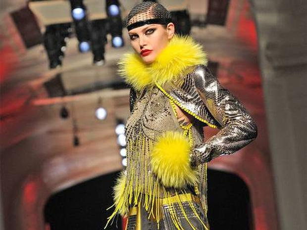 Jean-Paul Gaultier brought a typically flamboyant haute couture collection to the catwalk yesterday. Photo: Getty Images