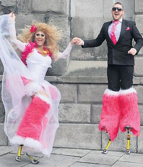 Revellers Demi and Baz were dressed as bride and groom for last weekend's Dublin's Pride Parade, which highlighted the issue of gay marriage.
