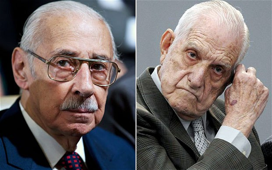 Jorge Videla, left, and Reynaldo Bignone, right, are accused along with six other former military figures Photo: AFP/GETTY