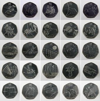 The 50p coins, which have been in general circulation since October 2010, feature designs from the Olympic and Paralympic sports