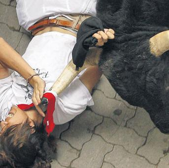 DAREDEVIL RUN: A bull in Pamplona, Spain, catches a runner by his kerchief
