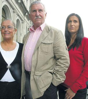 Zabrina Collins (right), with her father wrongly convicted Co Donegal publican Frank Shortt and his wife Sally. Photo: Julien Behal