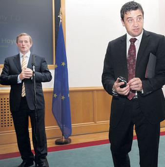 MEDIA STORM: Enda Kenny with Fergal Purcell