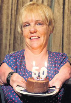 Maggie Woods, chair of the Irish Thalidomide Association, celebrates her 50th birthday yesterday.