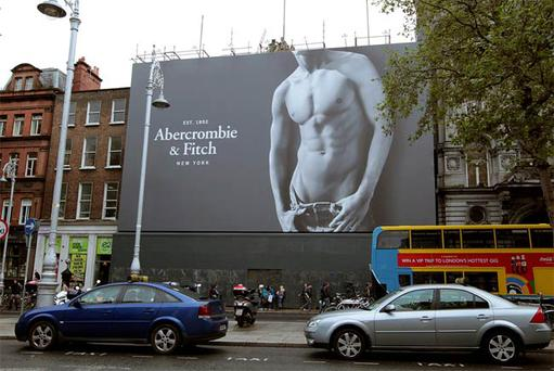 Abercrombie and Fitch's giant poster at the new store.