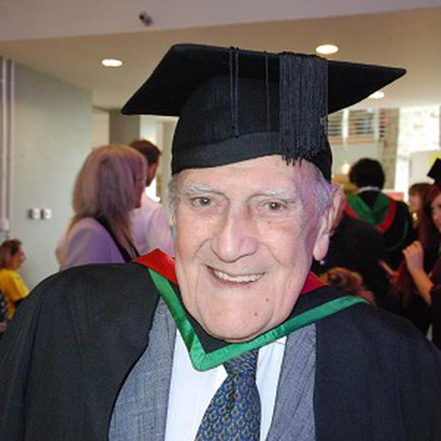 Roger Roberts picks up a university degree at the age of 82