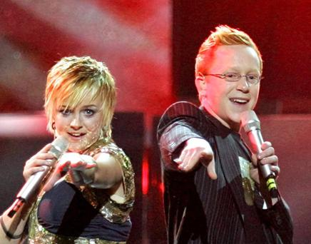 Joe McCaul performs with sister Donna during the 2005 Eurovision Song Contest in Kiev.