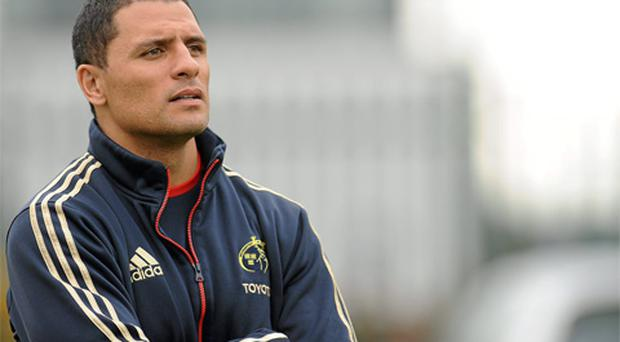 Munster's Doug Howlett watches on during squad training ahead of their Celtic League game against Cardiff Blues on Friday 21 February 2012. Photo: Sportsfile