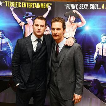 Channing Tatum and Matthew McConaughey arriving at a special film screening of Magic Mike