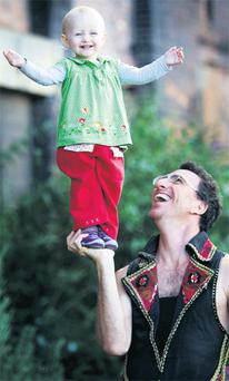 Fearless 15-month-old Hally Weiss joined her acrobat father Yuri yesterday as he prepares for the Street Performance Championships in Cork and Dublin.