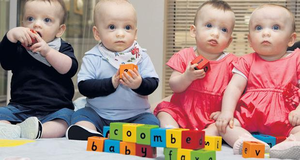 Quads Charlie, Max, Sadhbh and Alanna Rogers, at the Coombe Hospital, Dublin, yesterday as their parents helped launch an info-pack for parents of premature babies