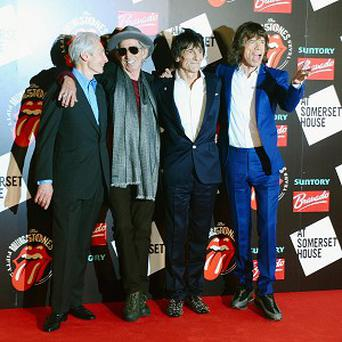 Charlie Watts, Keith Richards, Ronnie Wood and Mick Jagger arrive at the Rolling Stones: 50 photographic exhibition at Somerset House