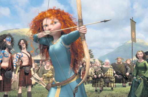 Brave at heart: Flame-haired Meriva rebels against her overbearing parents in Pixar's latest adventure