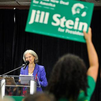 Green Party presidential candidate Jill Stein delivers her acceptance speech in Baltimore (AP)