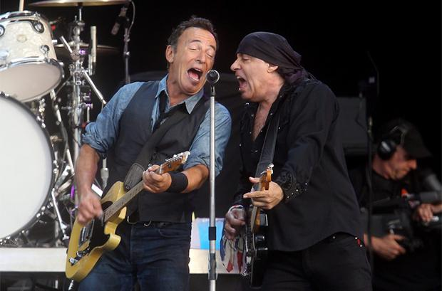 Bruce Springsteen and Steve Van Zandt of the E Street Band performing at Hyde Park on Saturday night