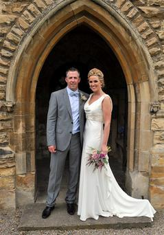 Leinster team manager and former Irish International rugby player Guy Easterby and his wife Laurie McGann from Clarina Limerick who were married in Kirkby Wharfe, York, England on Saturday.
