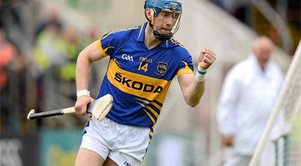 John O'Brien, Tipperary, celebrates after scoring his side's first goal. Munster GAA Hurling Senior Championship Final, Waterford v Tipperary, Pairc Ui Chaoimh, Cork. Photo: Sportsfile