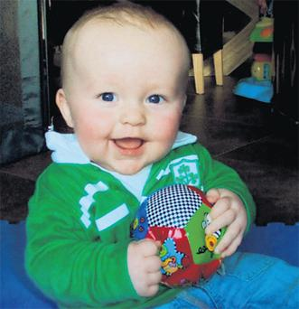 Sixteen-month-old Oisin Twomey who died in a car accident in Devon, England