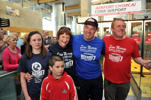 Steve Redmond pictured with wife Ann, children Saidbh and Steve and support manager Noel Browne