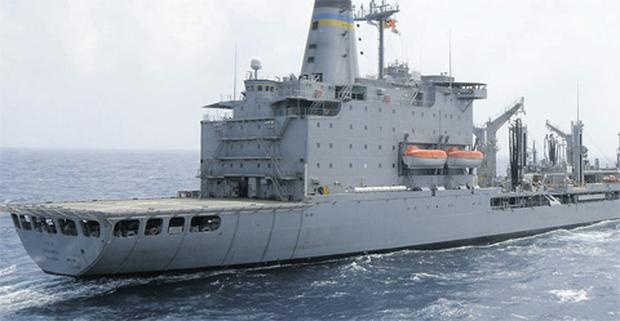 US Navy supply ship Rappahannock fired upon a small motor boat off the United Arab Emirates yesterday after it ignored warnings to halt its approach.