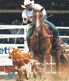 Cory Solomon of Prairieview, Texas, ropes a calf on his way to winning the Tie-Down Roping event and $100,000 at the 100th Anniversary of the Calgary Stampede Rodeo in Calgary, Alberta.