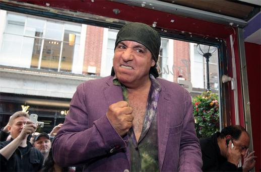 Steve Van Zandt, guitar player in Bruce Springsteen's E Street Band at Tower Records in Dublin yesterday