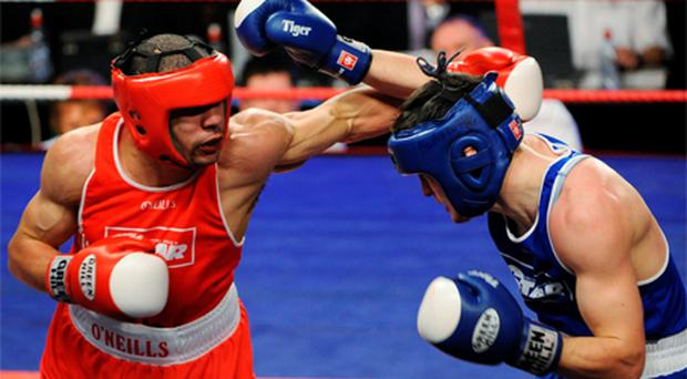 Darren Sutherland, right, in action against Darren O'Neill at the National Senior Boxing Championship Finals in 2008. Photo: Sportsfile