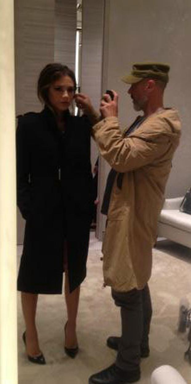 Victoria does some last minute preparation before her presentation in Brown Thomas. Photo: Victoria Beckham/Twitter.