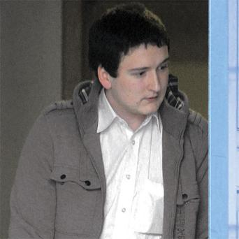 Damien McGeehan, on crutches at Letterkenny District Court