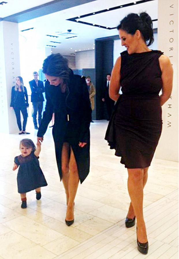 Harper Beckham joins her mum Victoria Beckham at a Brown Thomas event