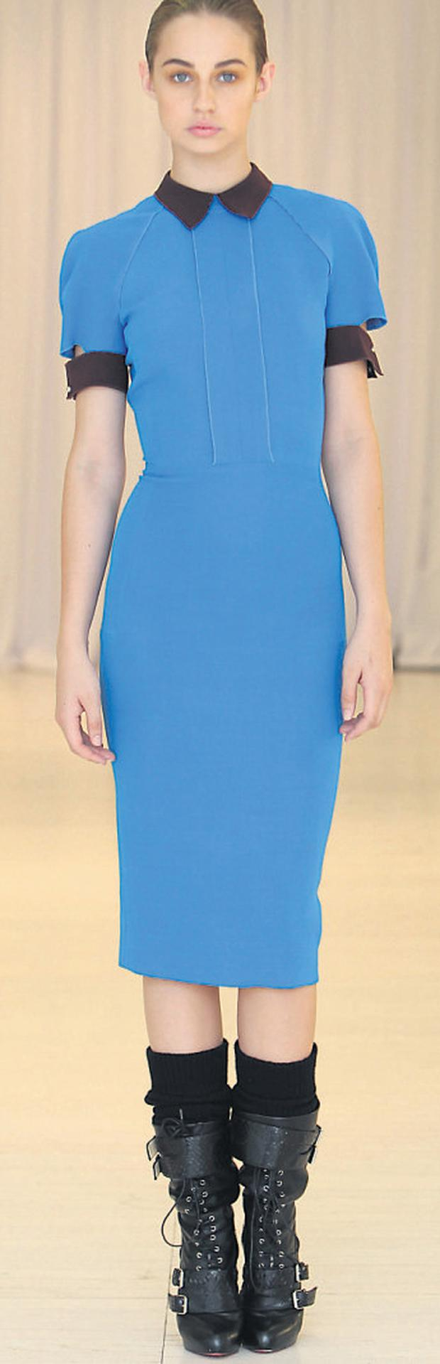 Thalia wears a Polo Fitted Dress in electric blue and maroon double crepe