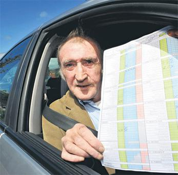 Learner driver Ray Heffernan from Mayfield, Co Cork pictured with his latest failed driving test report yesterday.