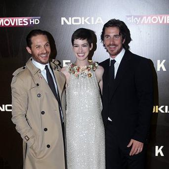 Tom Hardy, Anne Hathaway and Christian Bale arrive at the premiere of the new Batman film, The Dark Knight Rises